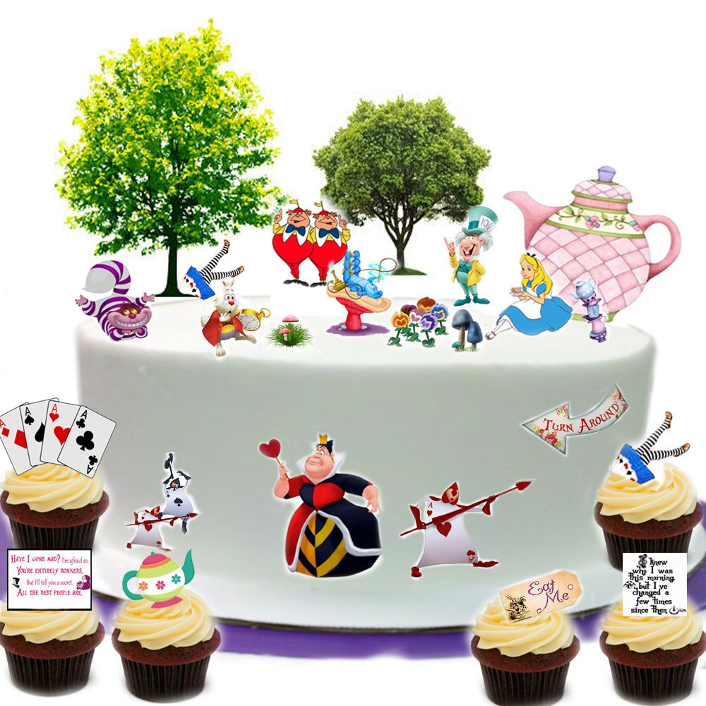 Alice in Wonderland Edible Wafer Card Cake Topper Scene