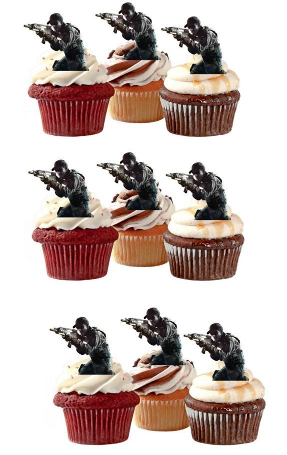 Cake Toppers Edible Uk : Call of Duty Soldiers Edible Stand Up Wafer Paper Cupcake ...