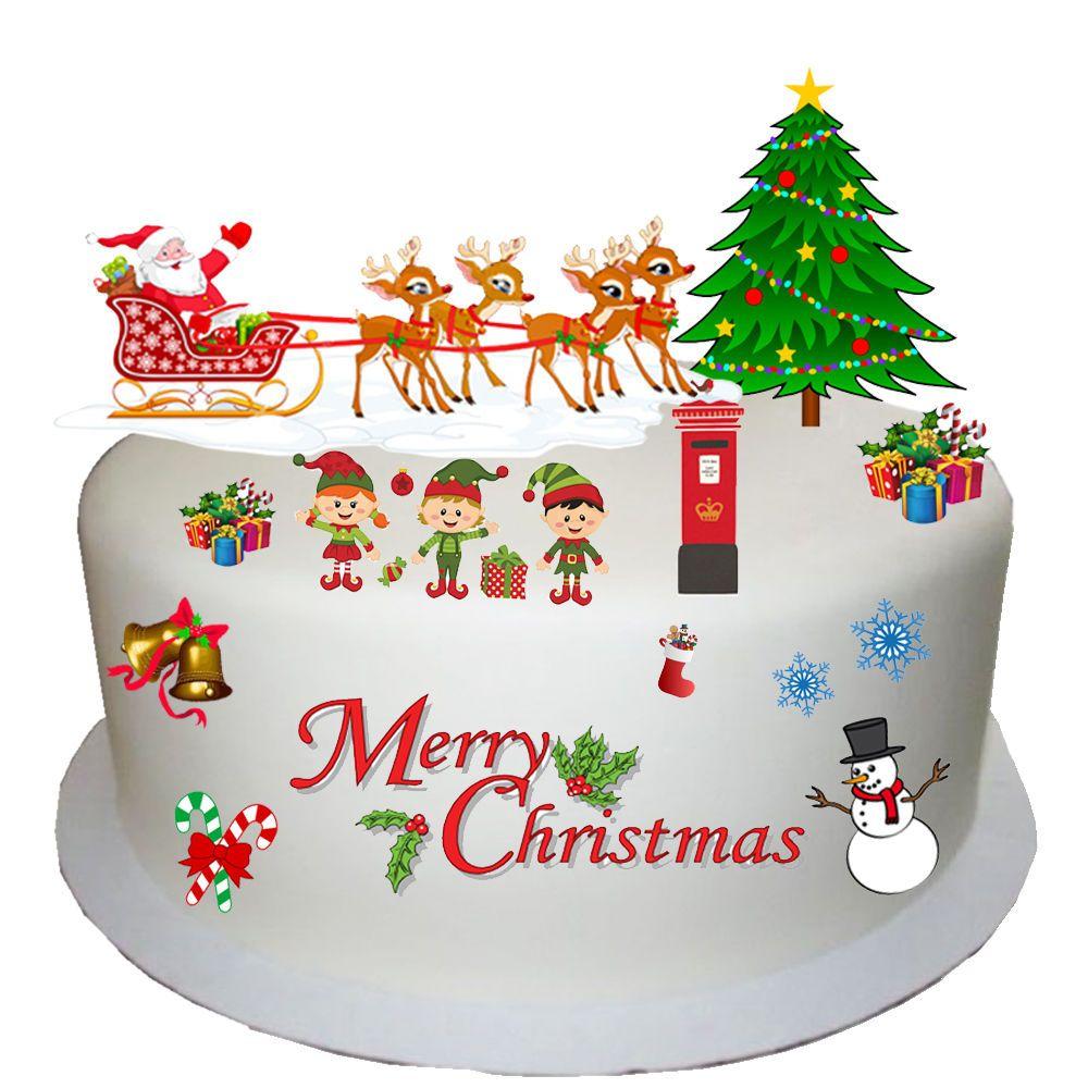 Edible Cake Decorations For Christmas : Christmas Edible Wafer Card Cake Topper Scene
