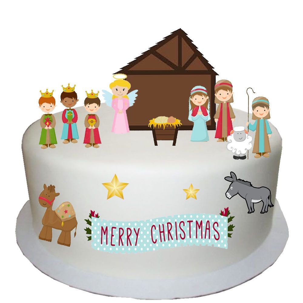 Christmas Nativity Edible Wafer Card Cake Topper Scene