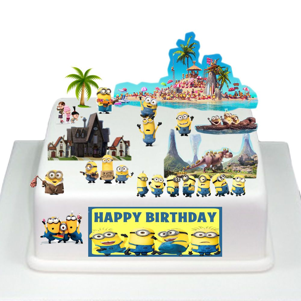Despicable me minions edible wafer card cake topper scene for How to make edible cake decorations at home