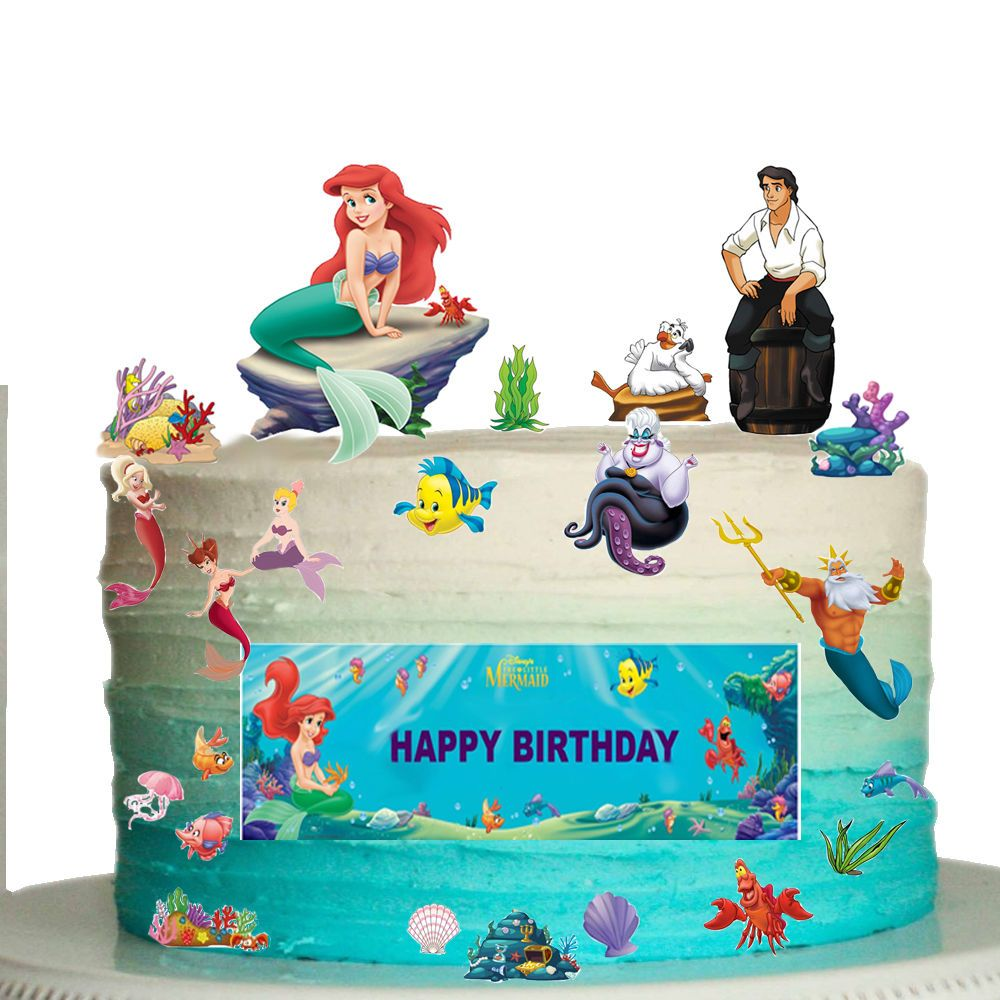 Disney Little Mermaid Edible Wafer Card Cake Topper Scene