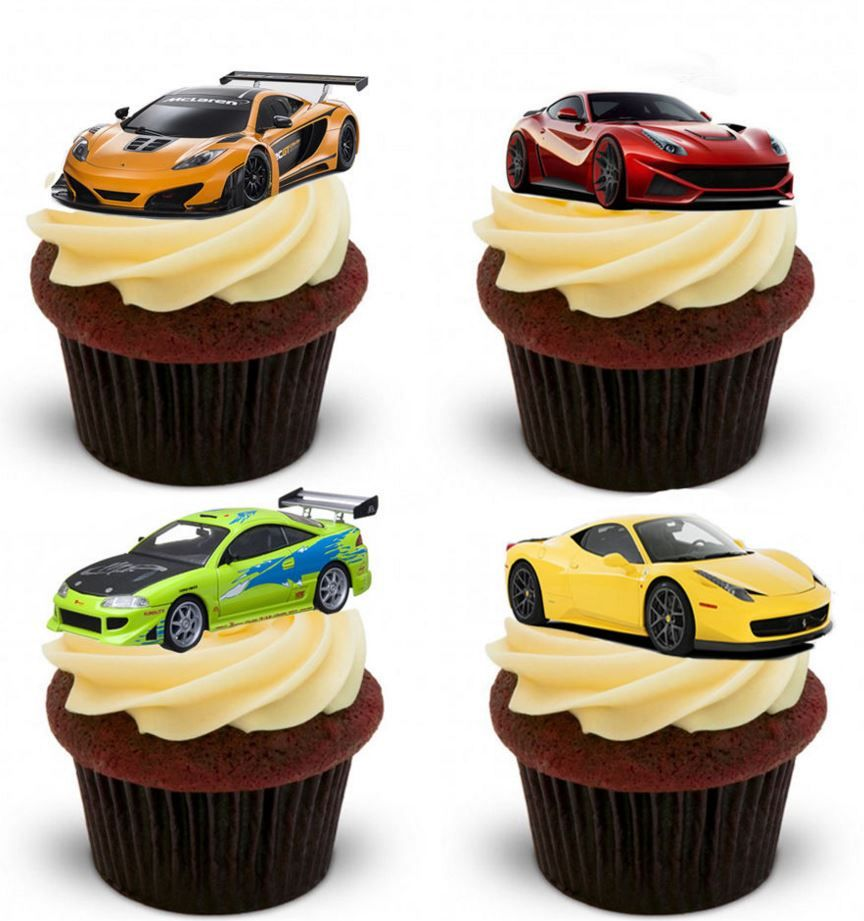 Cake Toppers Edible Uk : Fast Car Edible Stand Up Wafer Paper Cupcake Toppers