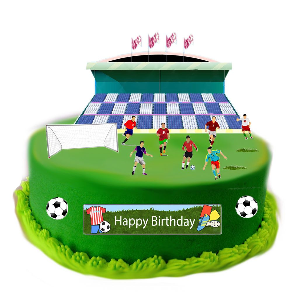 Football Edible Wafer Card Cake Topper Scene