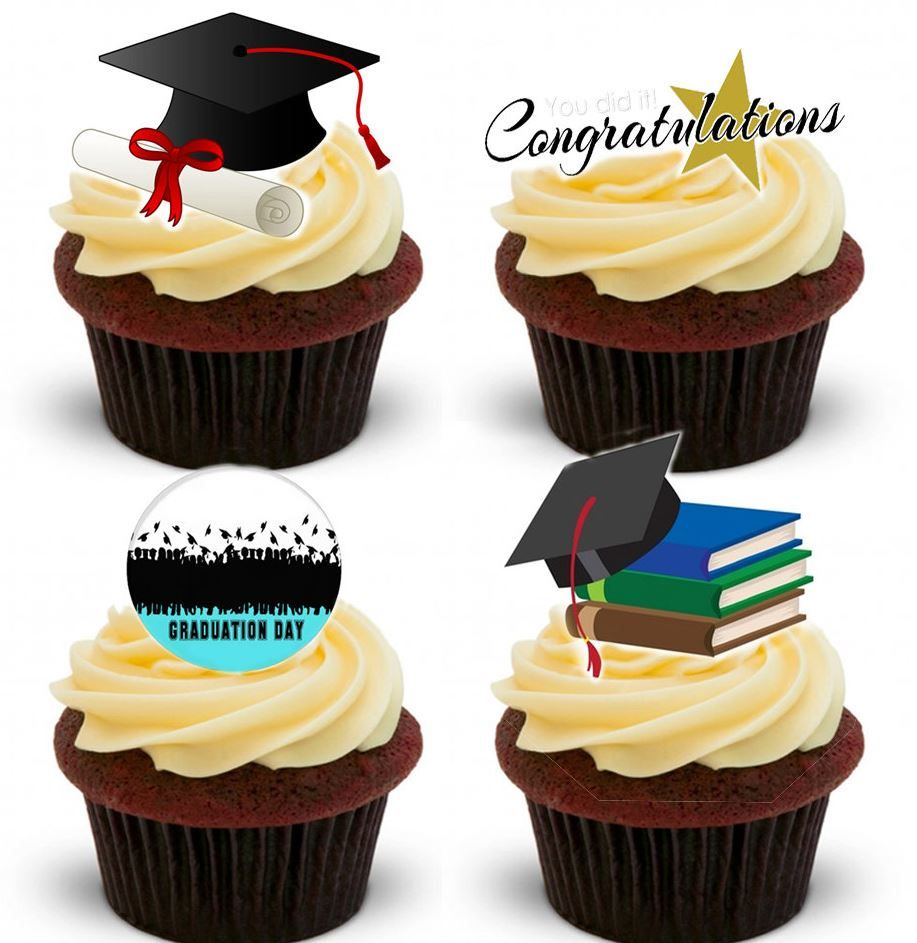 Graduation Edible Stand Up Wafer Paper Cupcake Toppers
