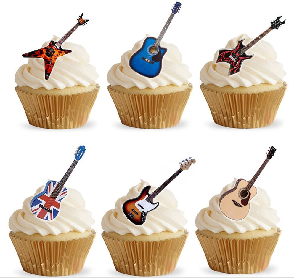 Cake Toppers Edible Uk : Guitar Edible Stand Up Wafer Paper Cupcake Toppers
