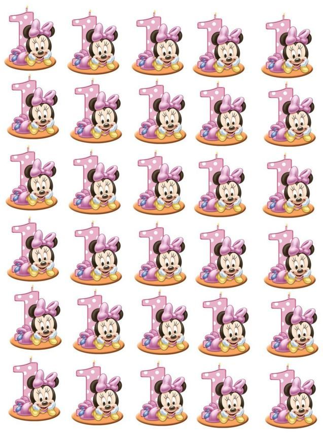 Minnie Mouse 1st Birthday Edible Stand Up Wafer Paper Cupcake Toppers