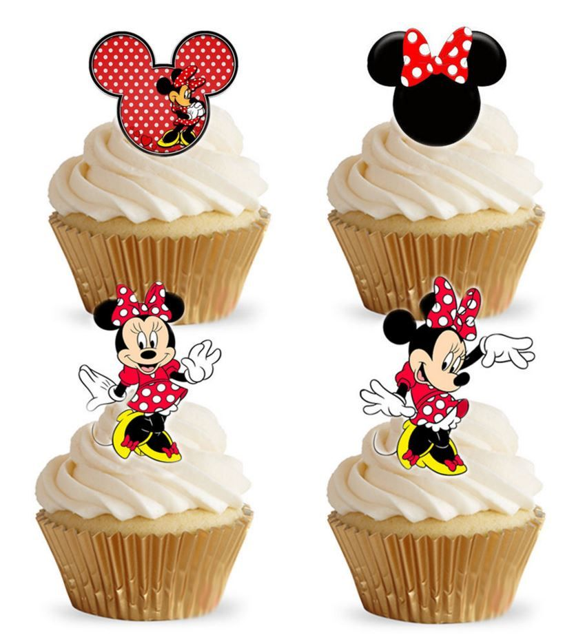 Cake Toppers Edible Uk : Minnie Mouse Red Edible Stand Up Wafer Paper Cupcake Toppers