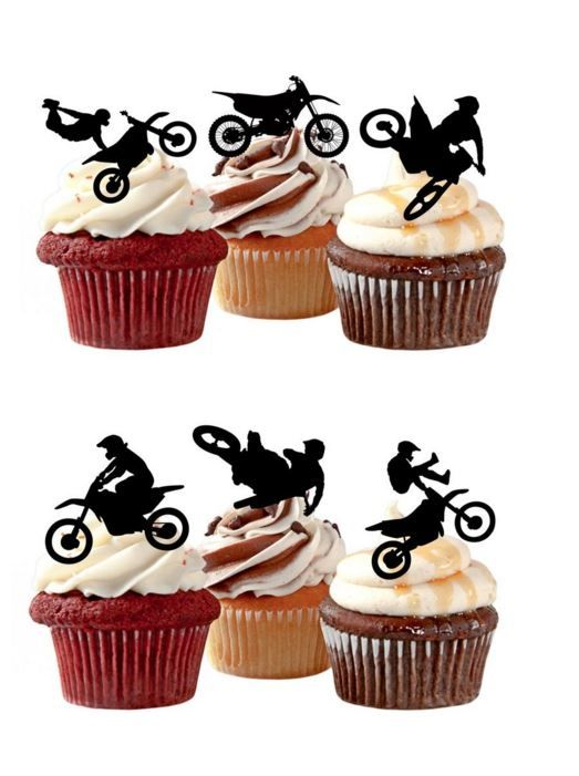 Cake Toppers Edible Uk : Motorcross Motor Bike Edible Stand Up Wafer Paper Cupcake ...