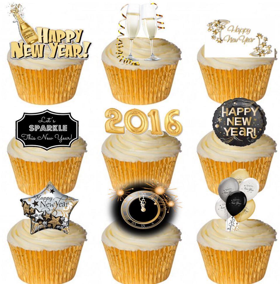 New Year 2016 Edible Stand Up Wafer Paper Cupcake Toppers