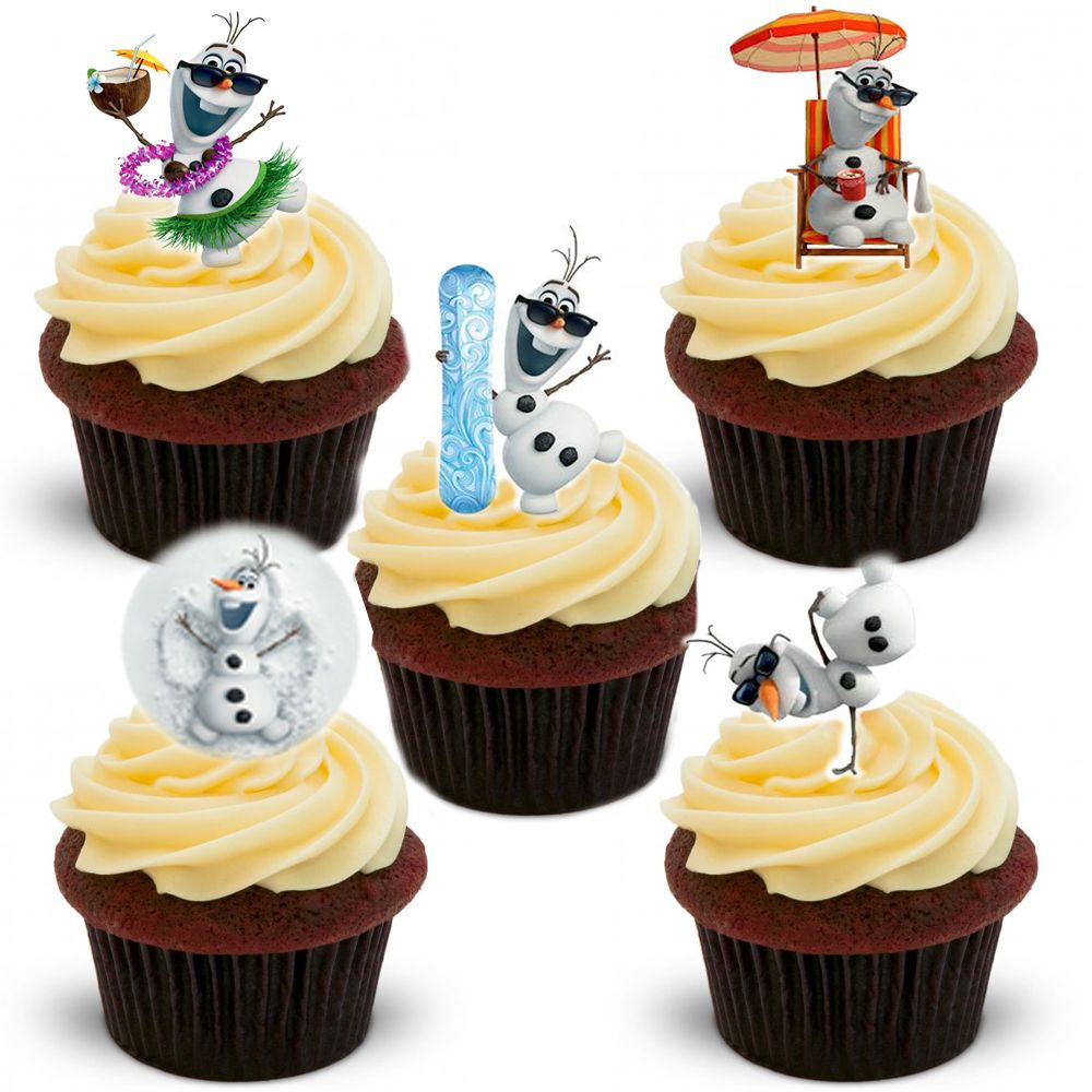 Cake Toppers Edible Uk : Olaf Edible Stand Up Wafer Paper Cupcake Toppers