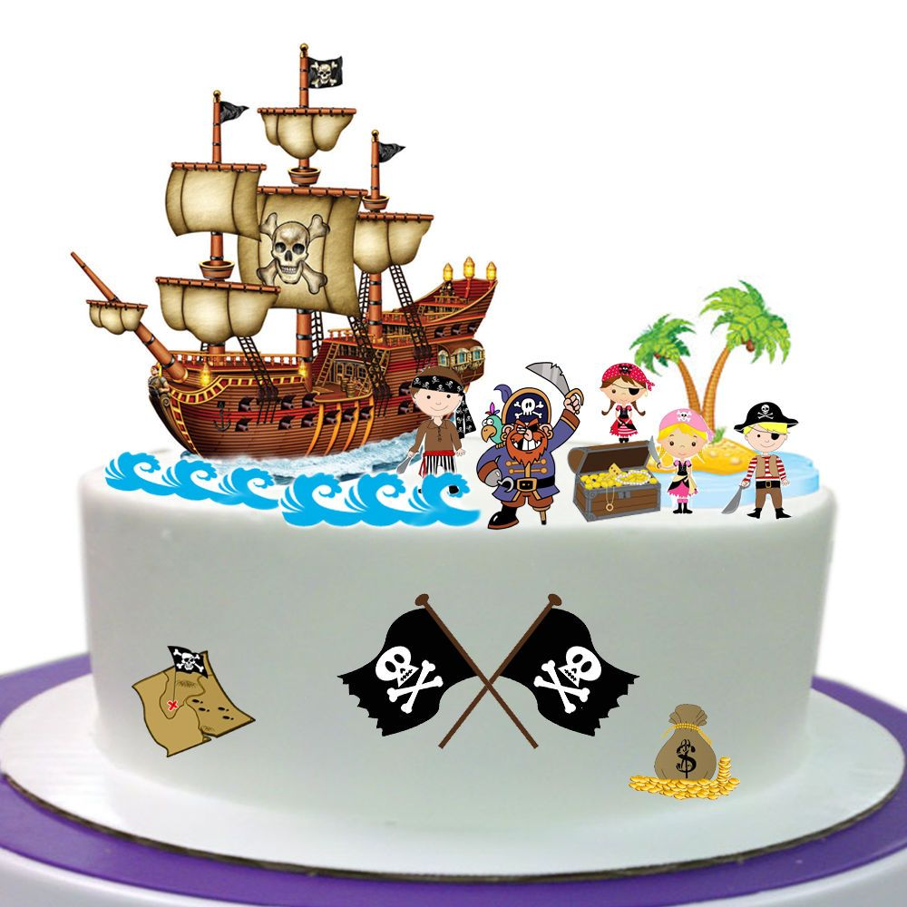 Pirate edible wafer card cake topper scene for How to make edible cake decorations at home