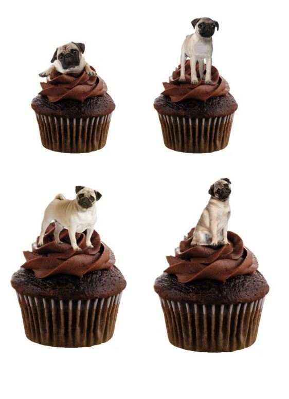 Edible Dog Cake Images : Pug Dog Edible Stand Up Wafer Paper Cupcake Toppers