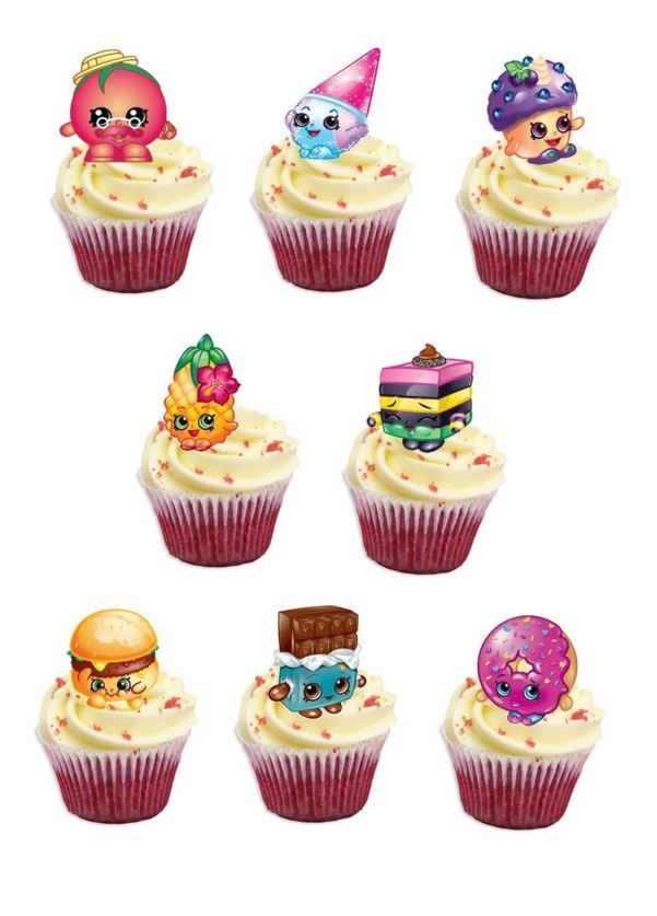 Cake Toppers Edible Uk : Shopkins Edible Stand Up Wafer Paper Cupcake Toppers