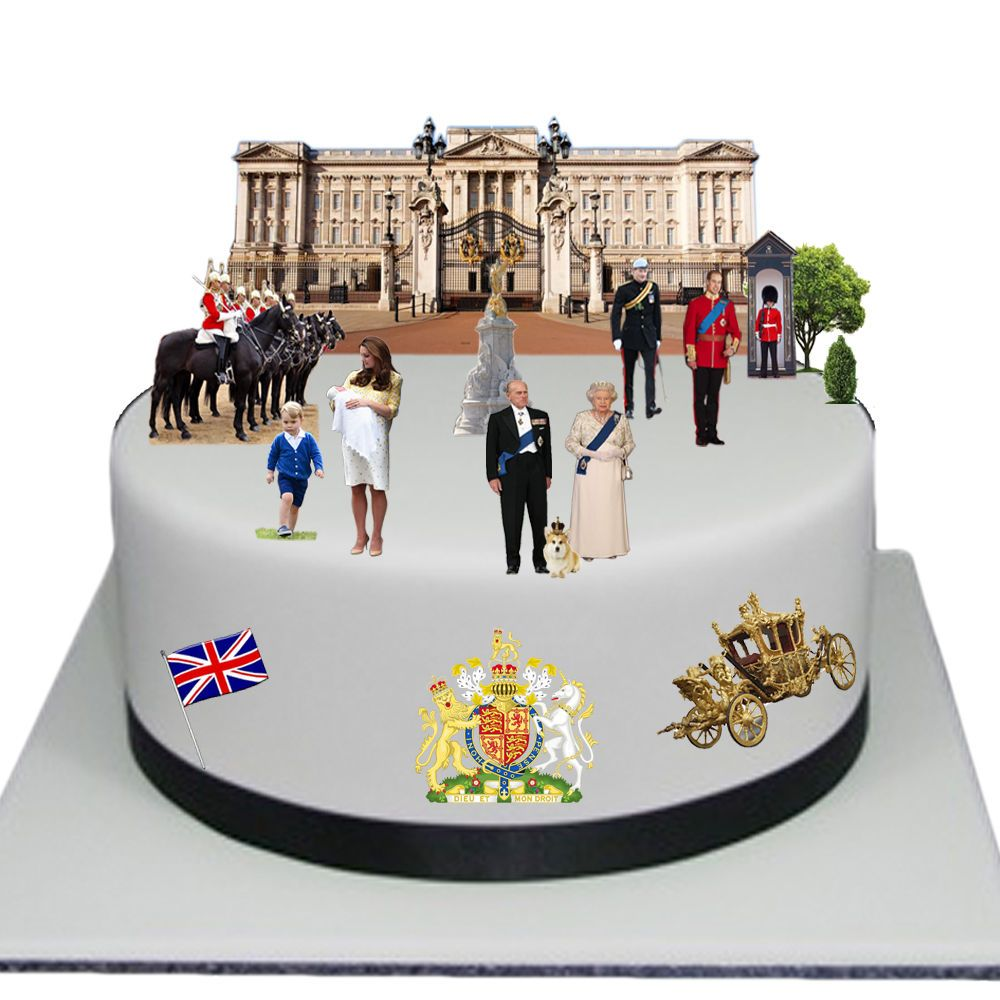 The Royal Family Edible Wafer Card Cake Topper Scene