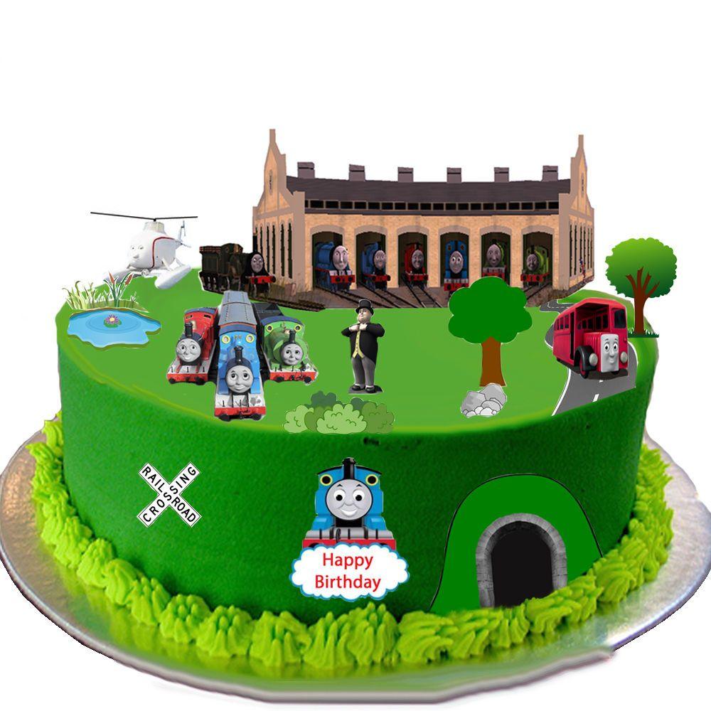 Edible Thomas Cake Decoration : Thomas the Tank Engine Edible Wafer Card Cake Topper Scene
