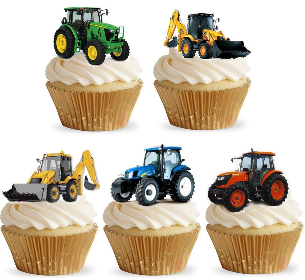 Tractor Edible Stand Up Wafer Paper Cupcake Toppers
