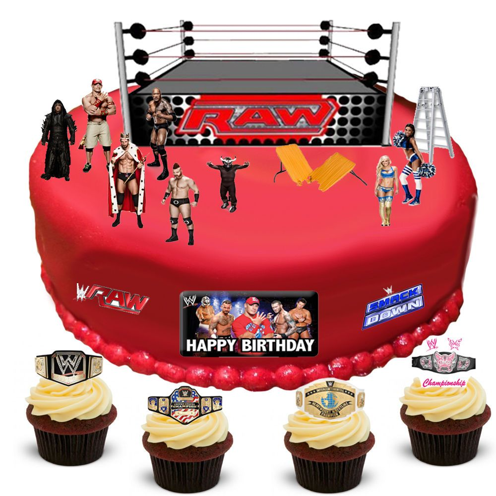 Wwe Raw Edible Wafer Card Cake Topper Scene