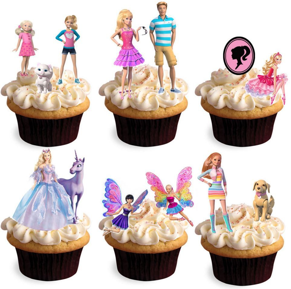 Swell Barbie Dreamhouse Edible Stand Up Wafer Paper Cupcake Toppers Personalised Birthday Cards Beptaeletsinfo