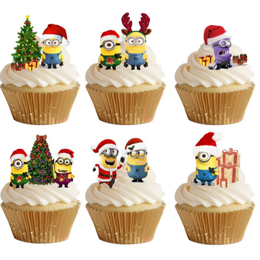 Christmas Minions Edible Stand Up Wafer Paper Cupcake Toppers