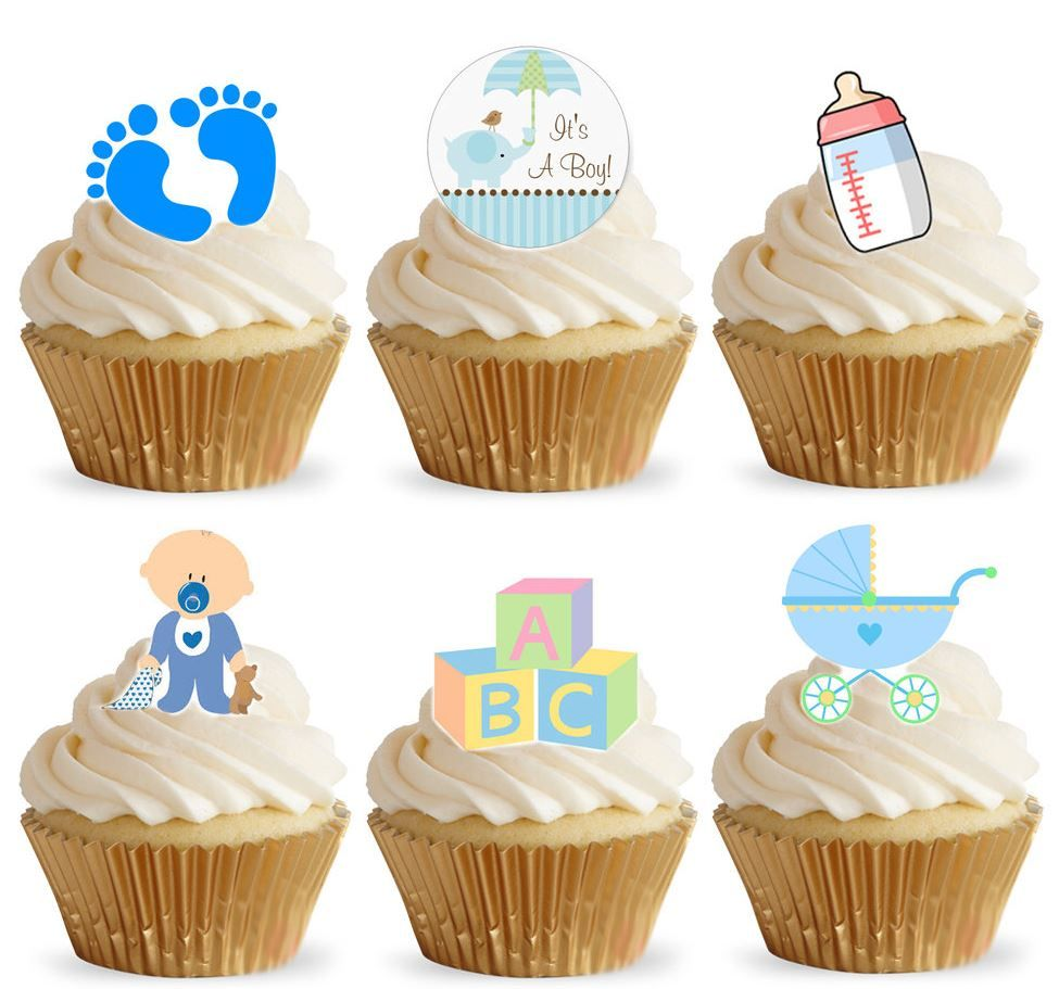 Its a Boy Edible Stand Up Wafer Paper Cupcake Toppers