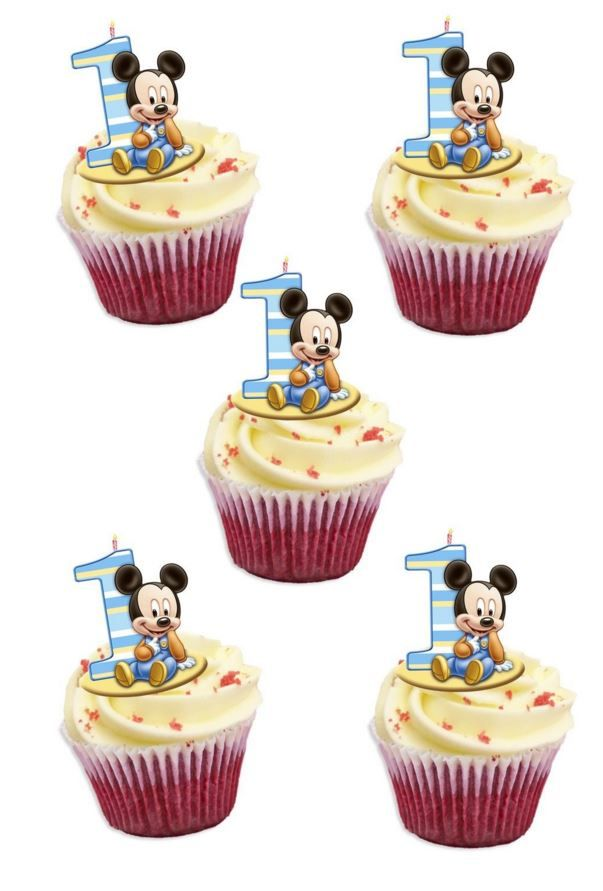 Miraculous Mickey Mouse 1St Birthday Edible Stand Up Wafer Paper Cupcake Personalised Birthday Cards Petedlily Jamesorg