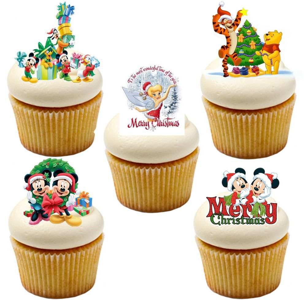 Christmas Toppers For Cupcakes.Minnie And Mickey Mouse Christmas Edible Stand Up Wafer Paper Cupcake Toppers