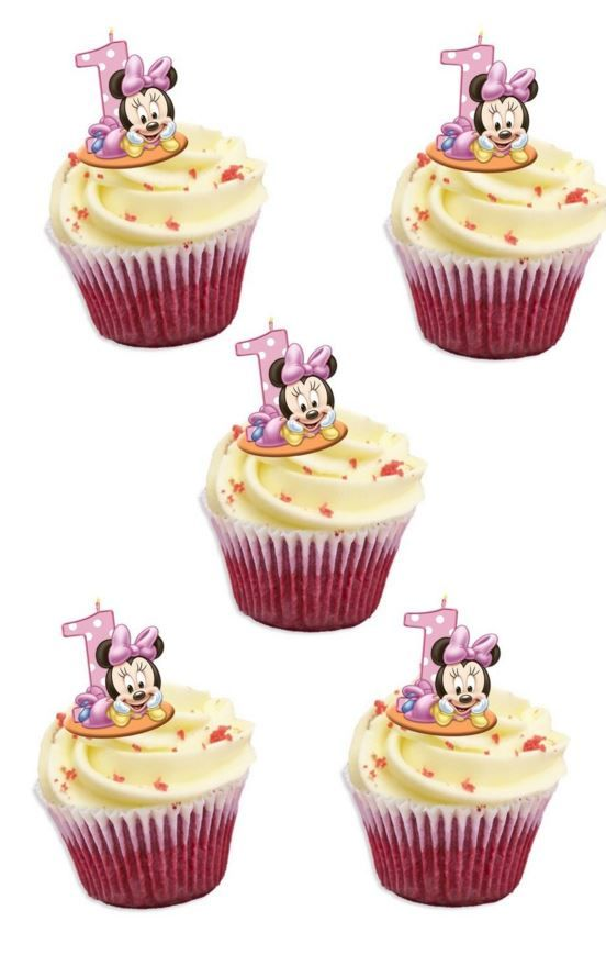 Marvelous Minnie Mouse 1St Birthday Edible Stand Up Wafer Paper Cupcake Personalised Birthday Cards Veneteletsinfo
