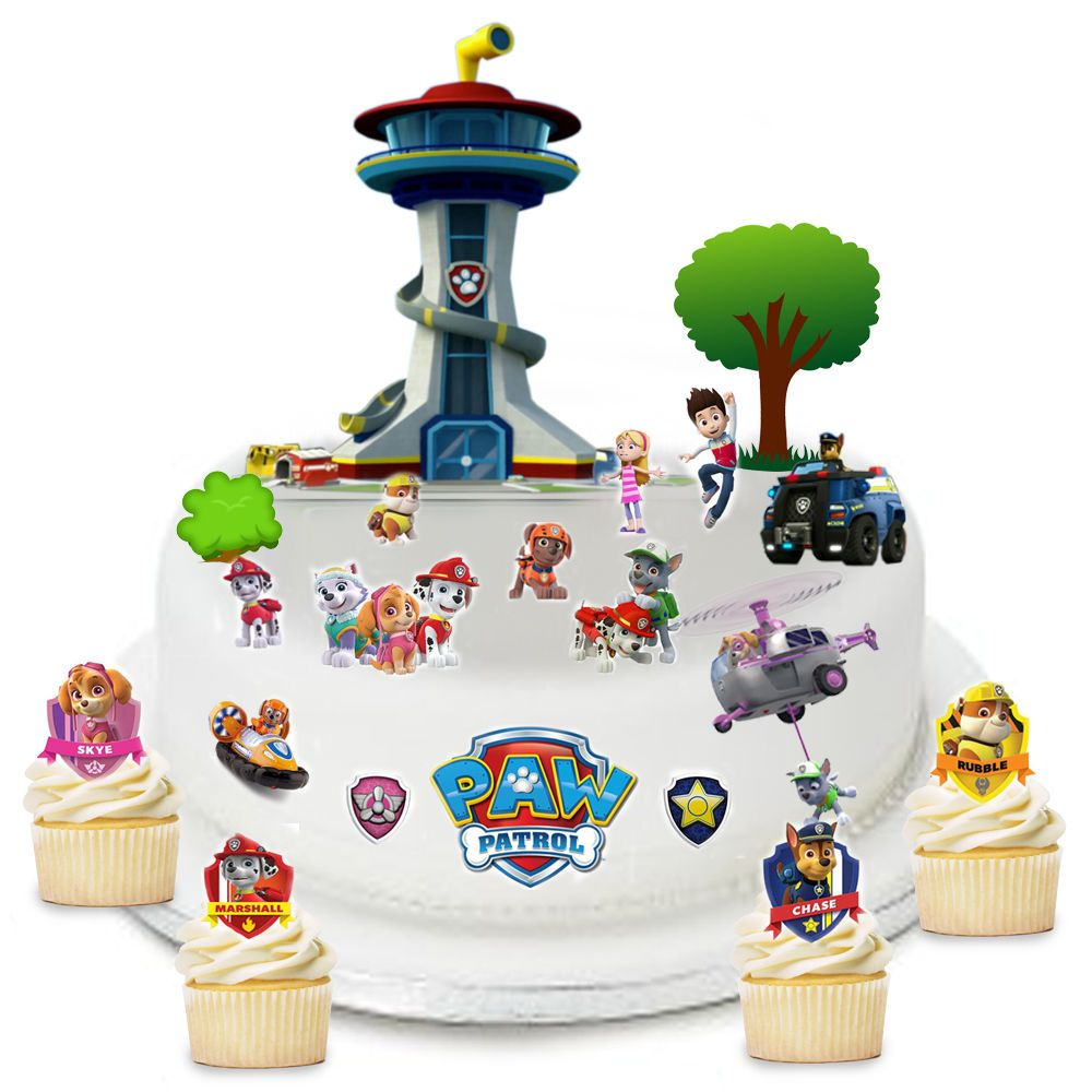 Paw Patrol Edible Wafer Card Cake Topper Scene
