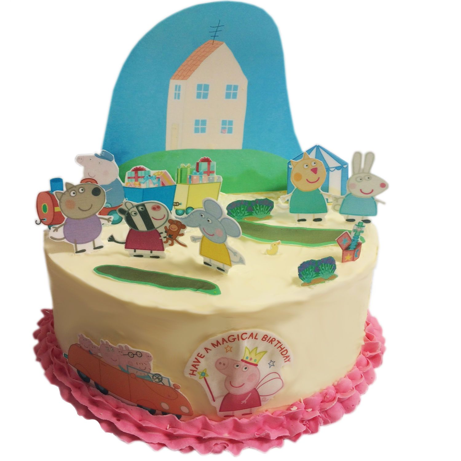 Terrific Peppa Pig Edible Wafer Card Cake Topper Scene Funny Birthday Cards Online Overcheapnameinfo