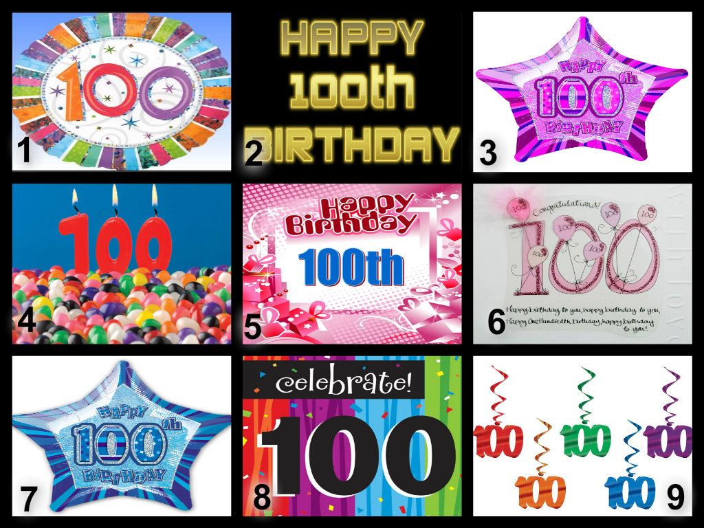 Personalised 100th Birthday Edible Cake Topper Wafer Paper Icing