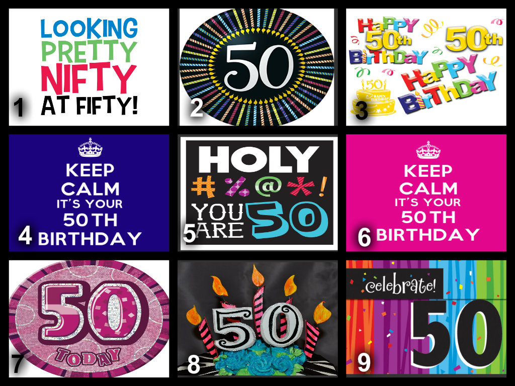 Personalised 50th Birthday Edible Cake Topper Wafer Paper Icing