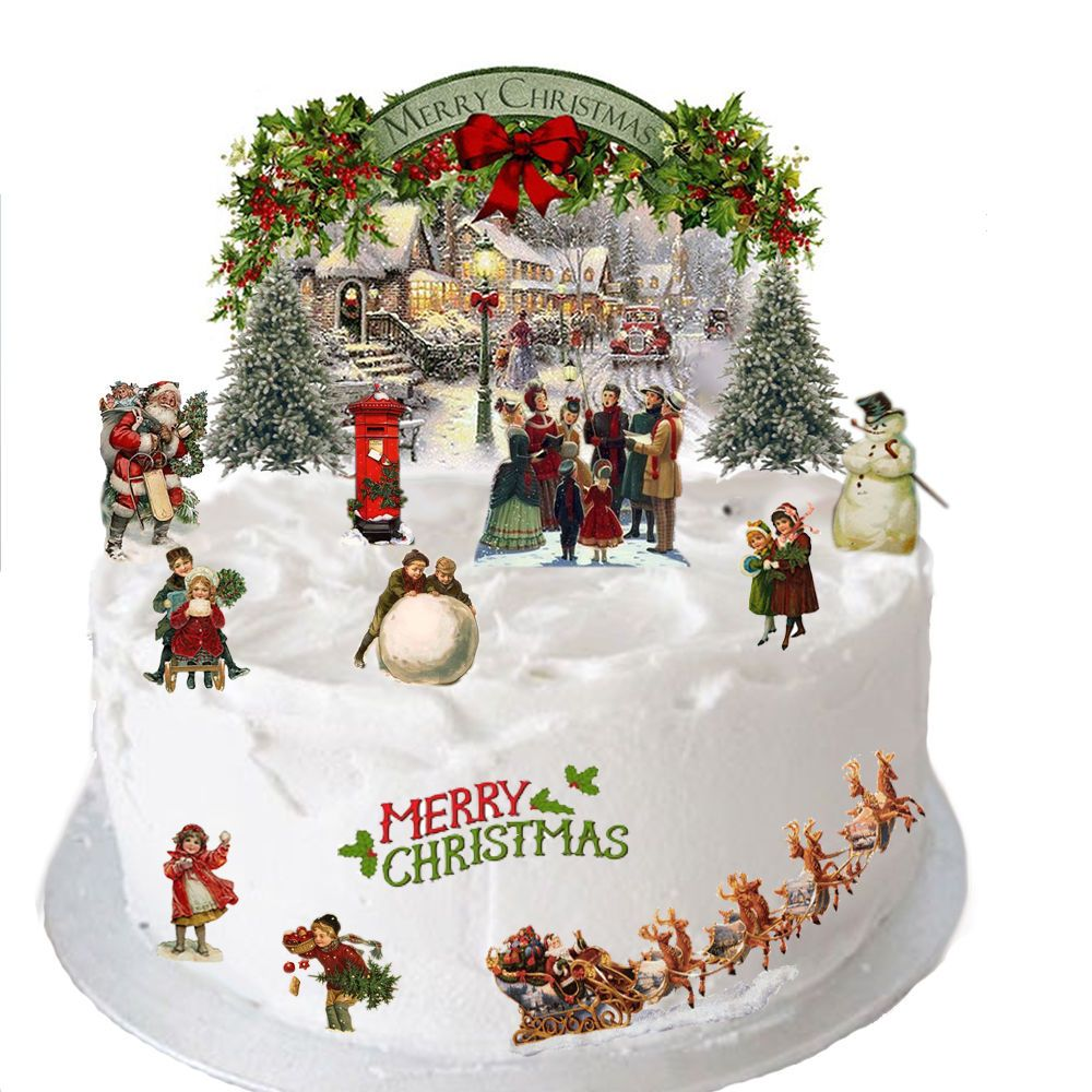 christmas wedding cake toppers uk vintage traditional edible wafer card cake 12844